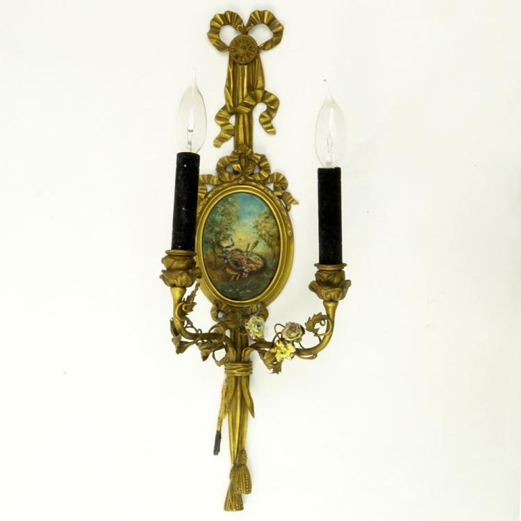 19th Century Dore Bronze Ribbon Top 2 Arm Wall Sconce