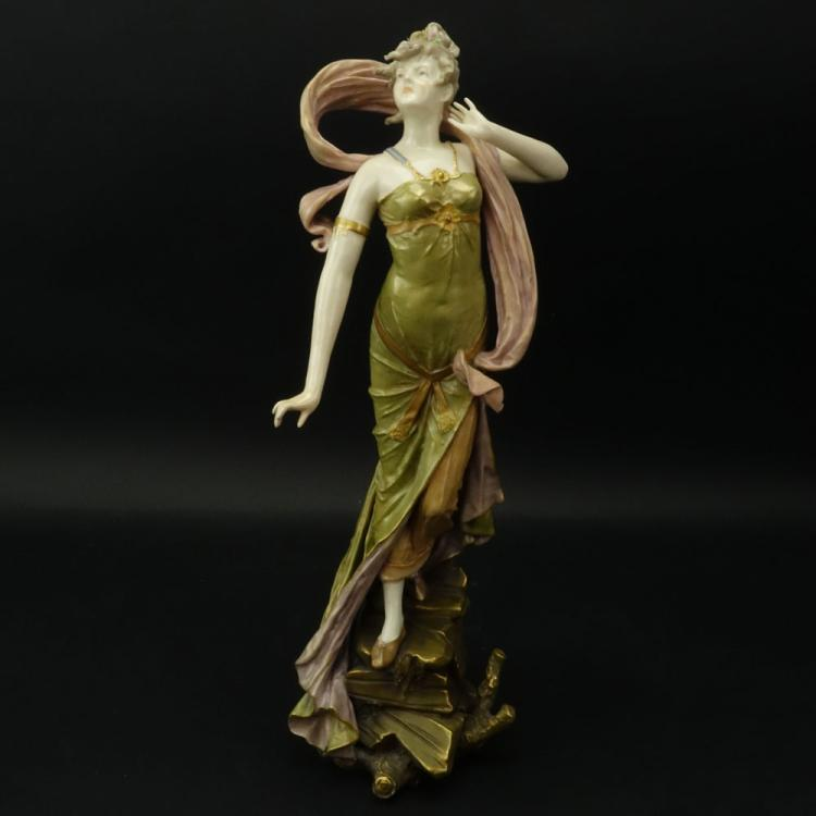 Art Nouveau Porcelain Figurine of a Young Beauty.