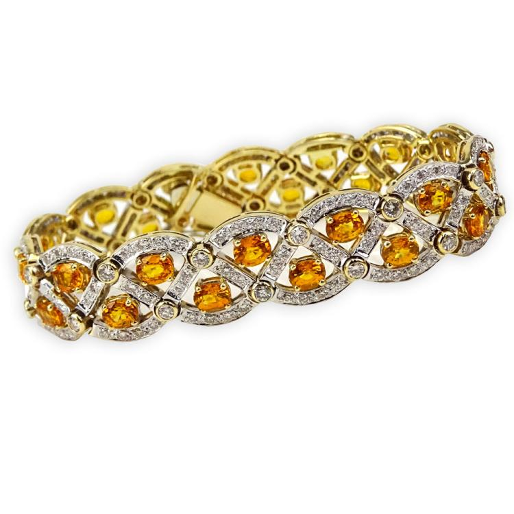 Fine Quality Approx. 12.50 Carat Oval Cut Yellow Sapphire, 5.0 Carat Round Brilliant Cut Diamond and 18K Yellow Gold Bracelet