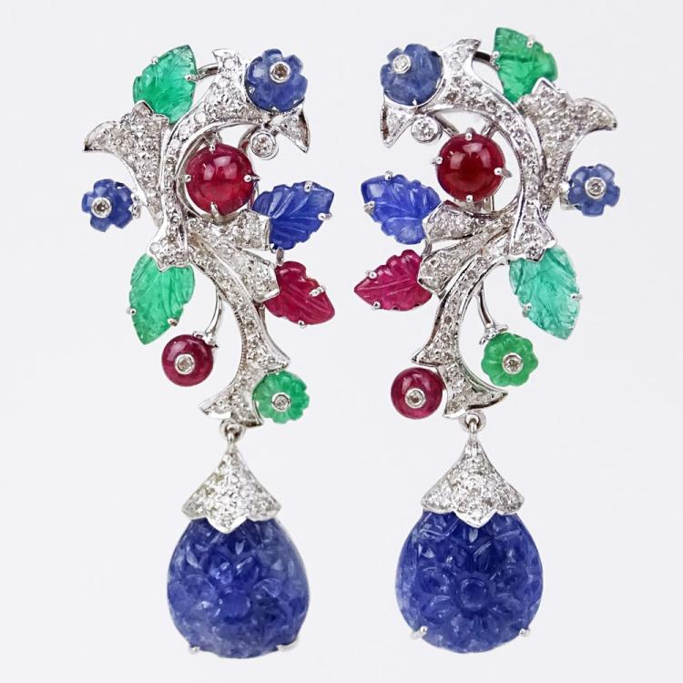 Cartier style Approx. 73.50 Carat Emerald, Ruby and Sapphire, 2.40 Carat Diamond and 18 Karat White Gold Tutti Frutti Earrings