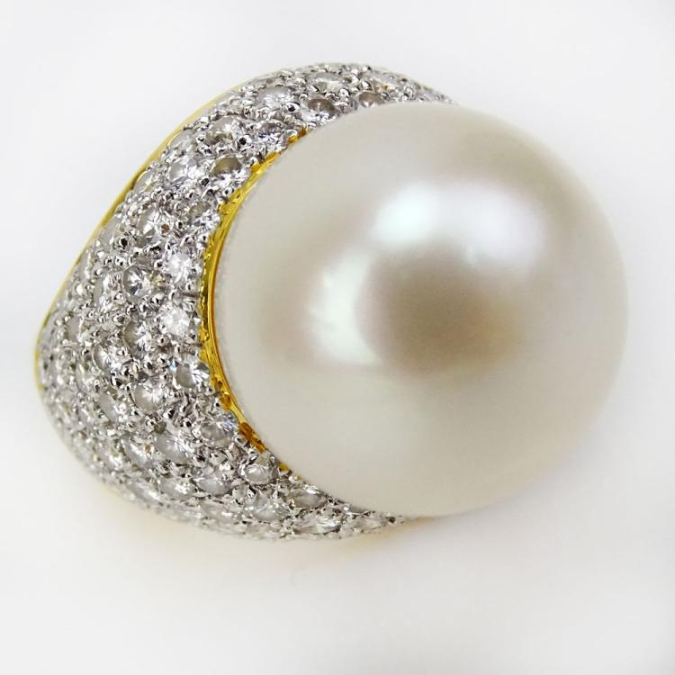 Large 17mm South Sea Pearl, Approx. 3.85 Carat Round Brilliant Cut Diamond and 18 Karat Yellow Gold Ring
