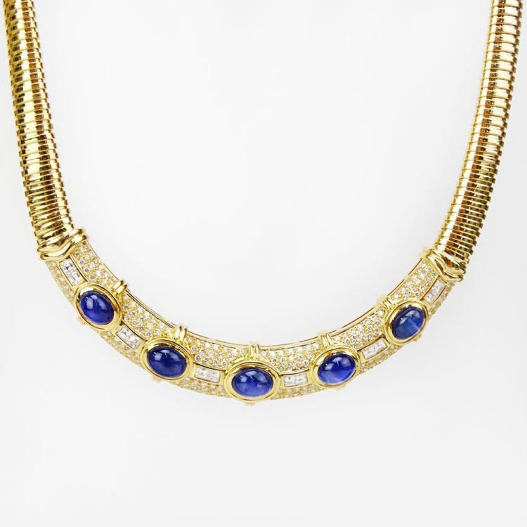 Approx. 26.0 Carat Cabochon Sapphire, 7.50 Carat Diamond and 18 Karat Yellow Gold Necklace