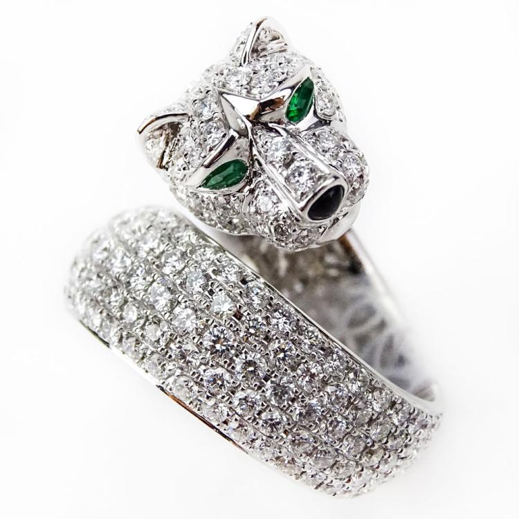 Cartier style Approx. 6.0 Carat Pave Set Round Brilliant Cut Diamond and 18 Karat White Gold Panther Ring