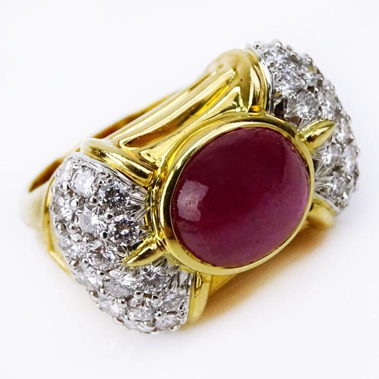 Approx. 3.50 Carat Cabochon Ruby, 2.10 Carat Pave Set Diamond, Platinum and 18 Karat Yellow Gold Ring