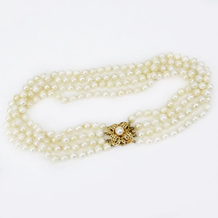 Vintage Four Strand 6mm Pearl Necklace with 14 Karat Yellow Gold Clasp
