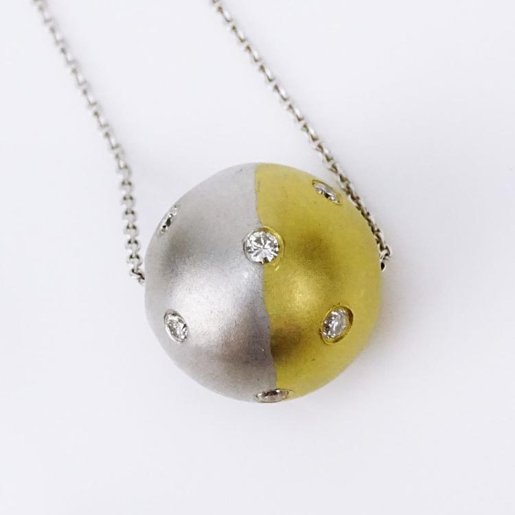 18 Karat White and Yellow Gold and Diamond Ball Pendant on 14 Karat White Gold Chain