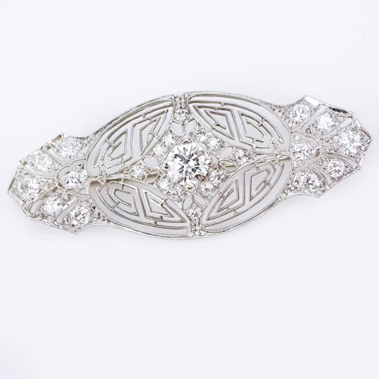Antique Approx. 1.25 Carat Diamond and 14 Karat White Gold Bar Brooch with Delicate Filigree Work