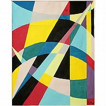 """Etienne Beothy, Hungarian (1897 - 1961) Gouache on paper """"Abstract""""."""