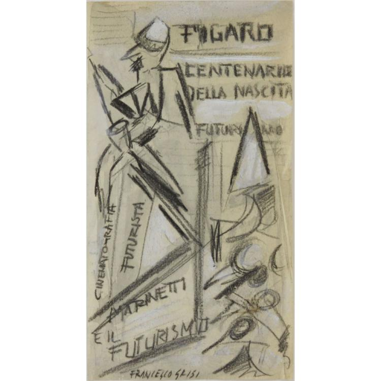 Francesco Grisi, Italian (1927-1999), Charcoal and Gouache on Paper, Futurist Sketch