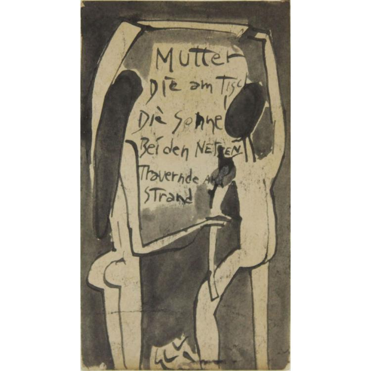 1930s German School, German Expressionism Ink and Wash on Paper