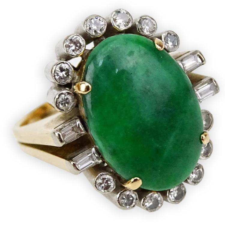 Vintage Oval Cabochon Cut Jadeite, Round Brilliant and Baguette Cut Diamond and 14 Karat Yellow Gold Ring