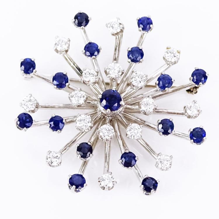 Vintage Approx. 1.80 Carat Round Brilliant Cut Diamond, 2.0 Carat Round Brilliant Cut Sapphire and Platinum Starburst Pendant/Brooch