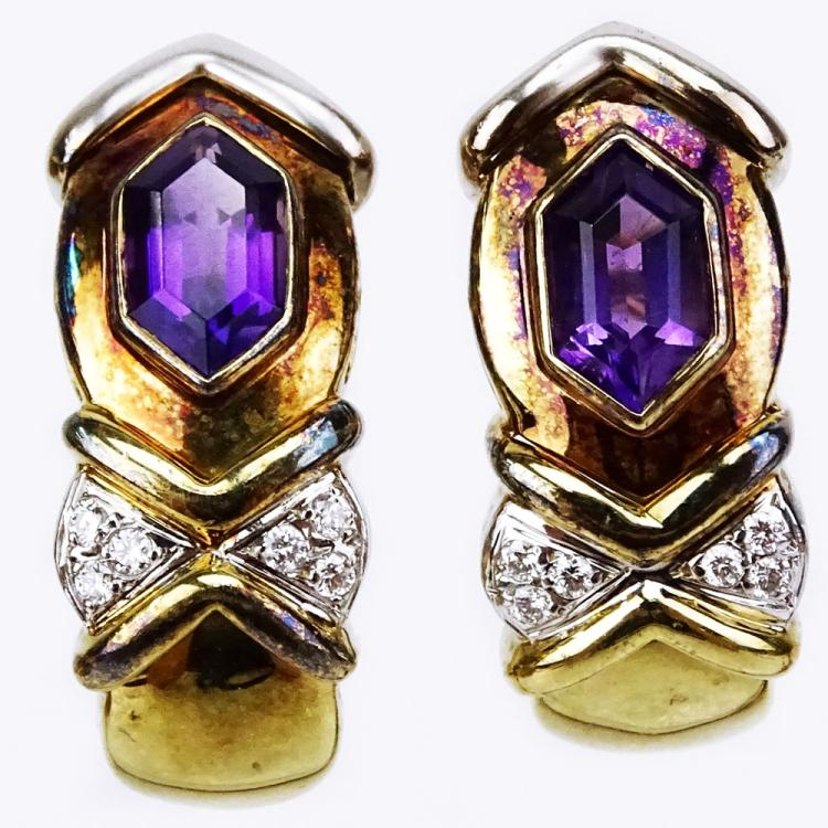 Vintage 14 Karat Yellow Gold, Amethyst and Round Cut Diamond Earclips