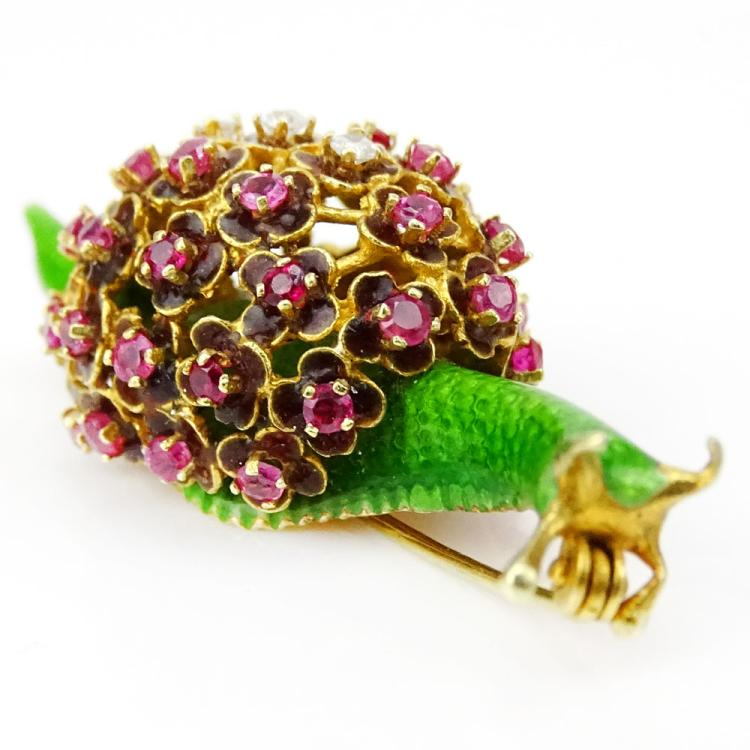 Vintage Enameled 14 Karat Yellow Gold Snail Brooch with Small Ruby and Diamond Accents
