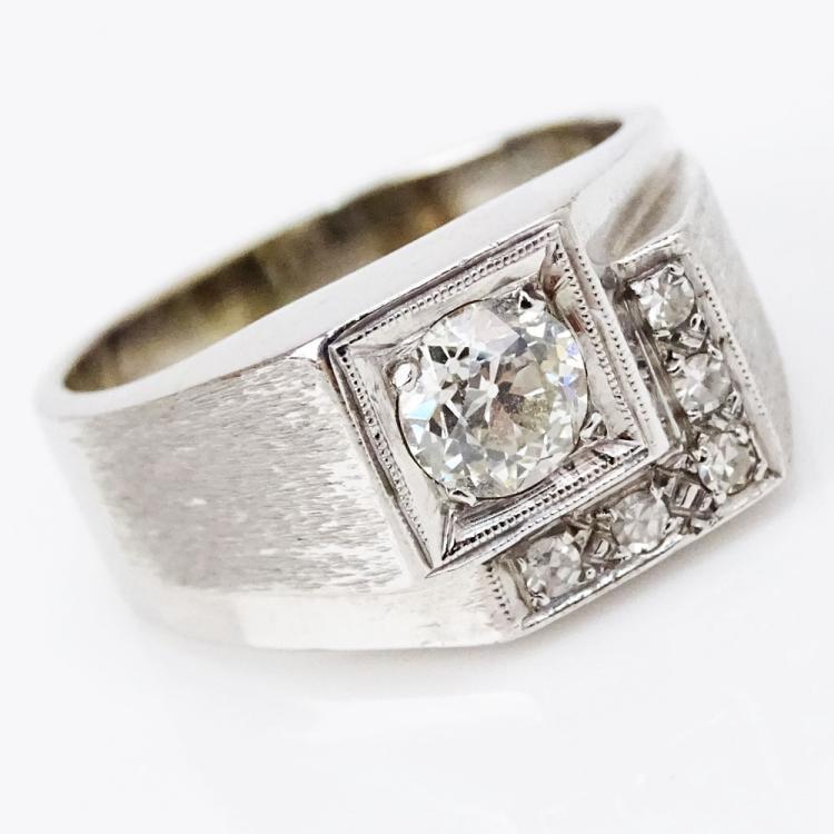 Man's Vintage Approx. .60 Carat Old European Cut Diamond and 14 Karat White Gold Ring