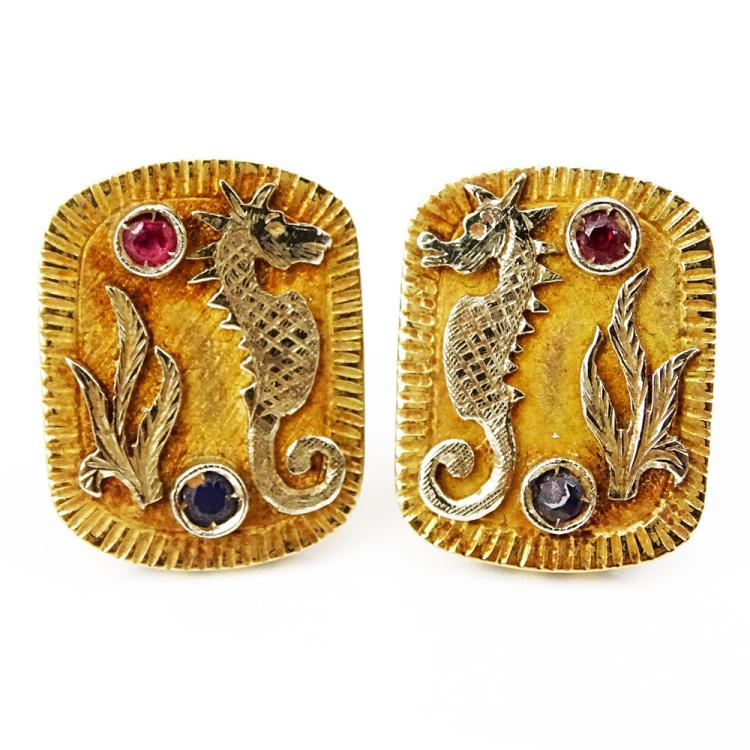 Vintage 18 Karat Yellow Gold Seahorse Earclips with Small Ruby and Sapphire Accents