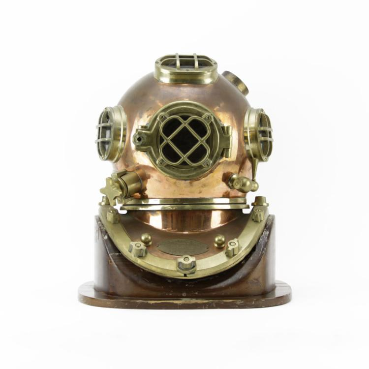 Morse Diving Equipment Inc. U.S. Navy Mark V Brass and Copper Diving Helmet