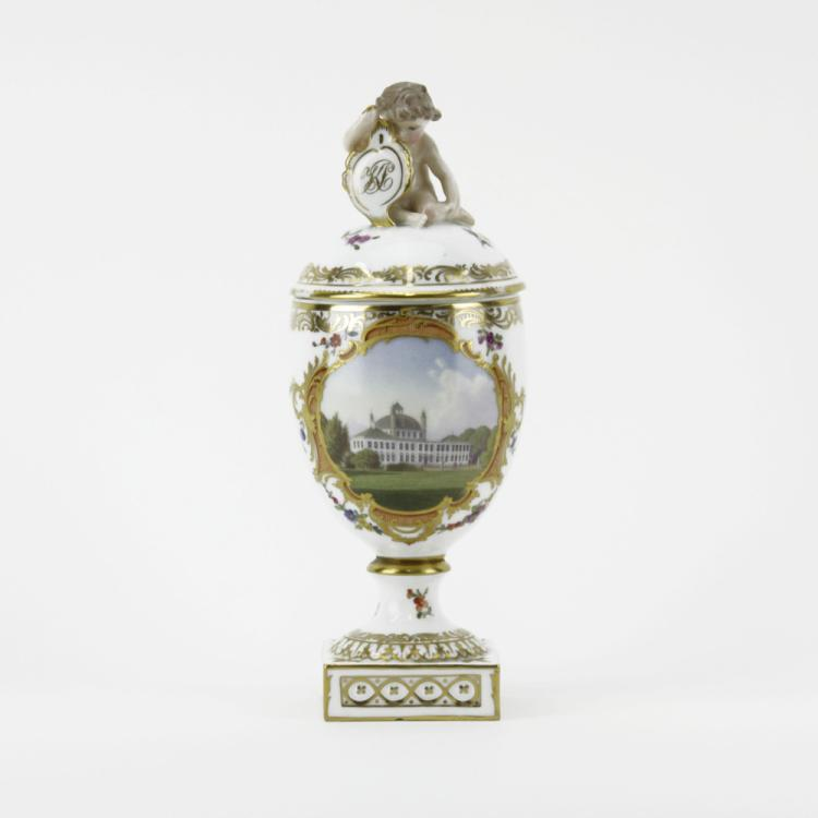 Royal Copenhagen Hand Painted Porcelain Covered Urn