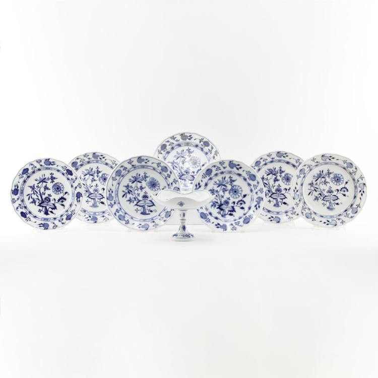 Grouping of Eight (8) Meissen Blue Onion Porcelain Tabletop Items