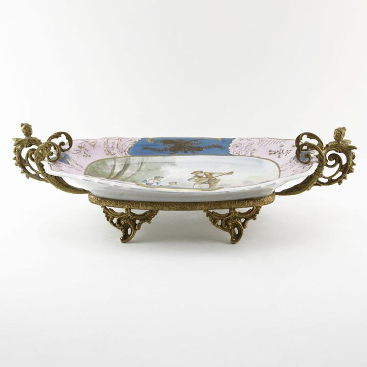 19th Century Sevres Bronze Mounted Louis XVI Style Gilt Hand Painted Centerpiece Bowl