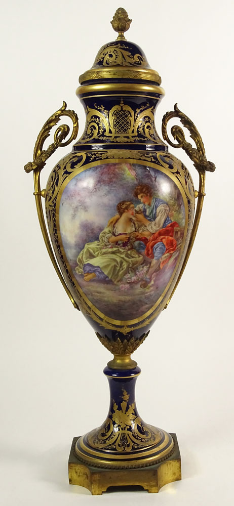 Large 19/20th Century Hand Painted Bronze Mounted Sevres Urn with Lid