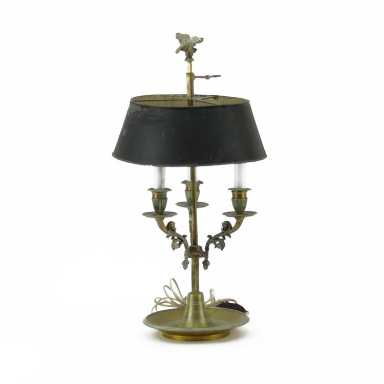 Antique Bronze Bouillotte Lamp With Tole Shade