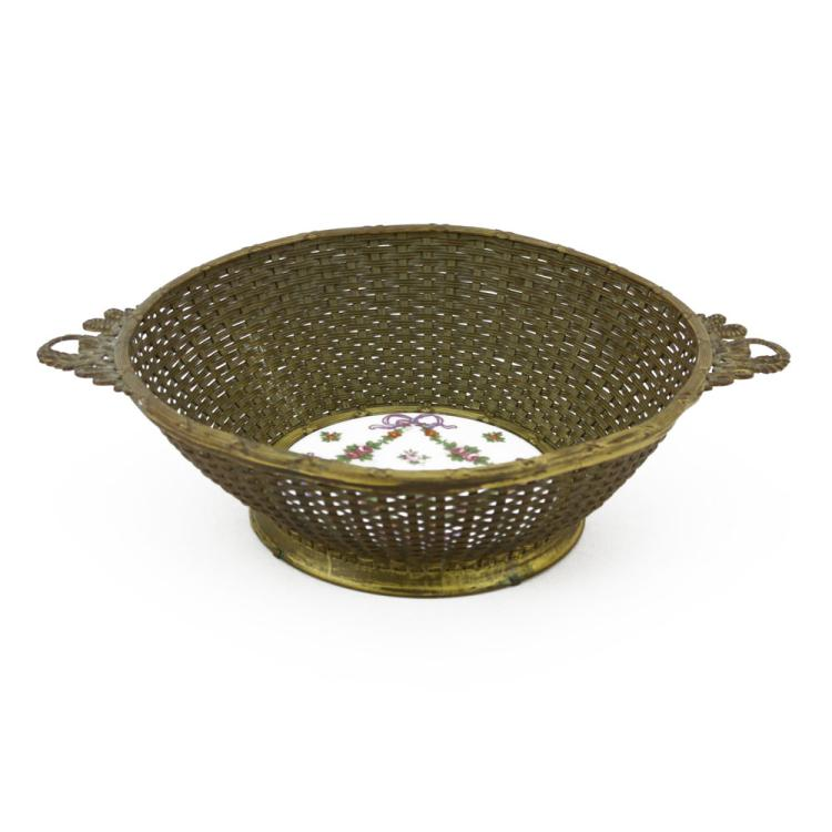 Early 20th Century French Style Handled Bronze Woven Bowl with Porcelain Insert