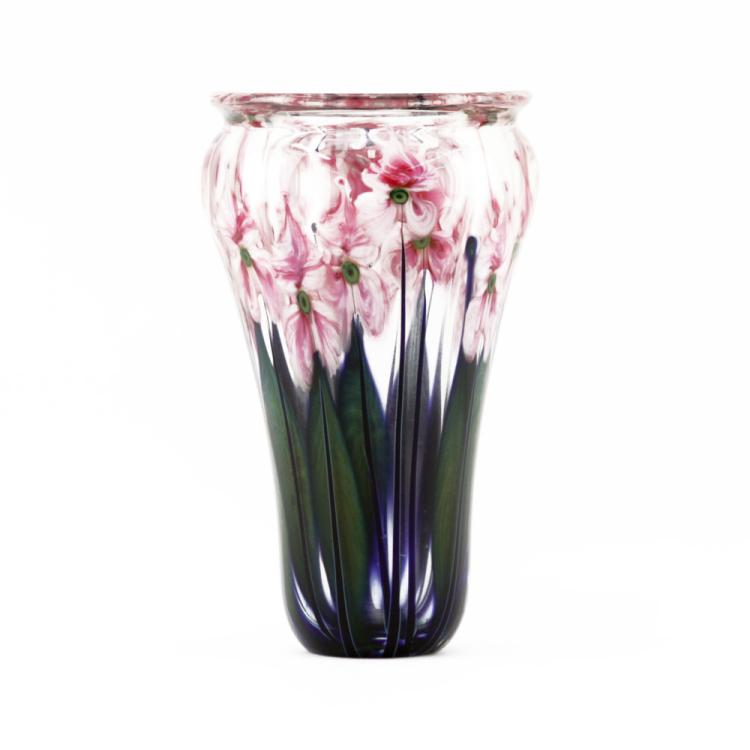 John Lotton, American (20th C.) V Shaped Pink Tulip Art Glass Vase