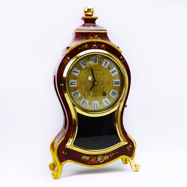 Modern Decorative Painted Wood and Brass Cased Clock
