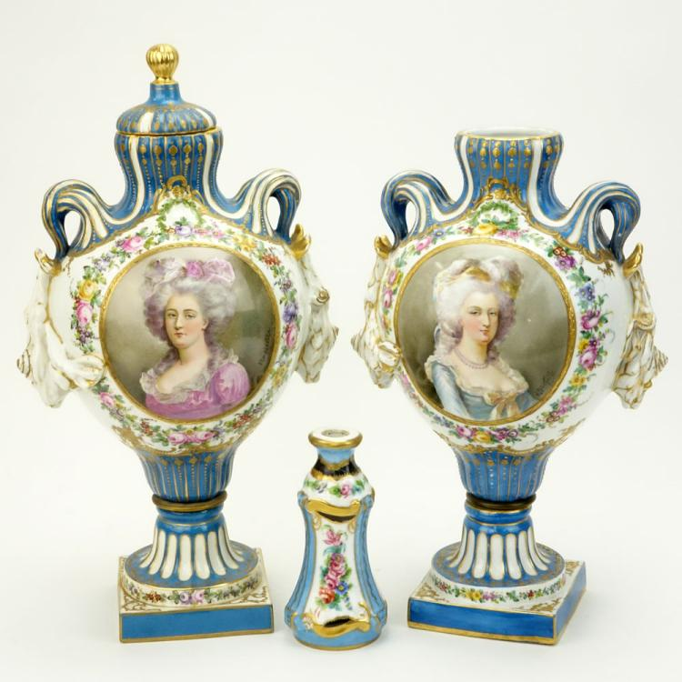 Pair of 19/20th Century French Sevres Louis XVI style Bleu Celeste Porcelain Covered Urns