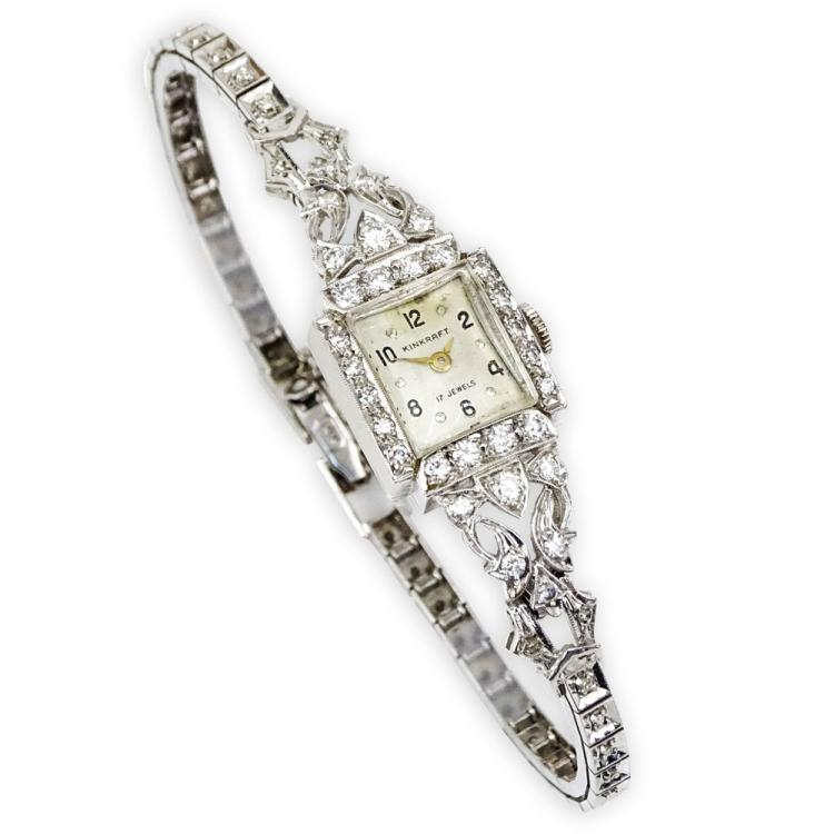 Lady's Vintage 14 Karat White Gold and Diamond Kinkraft Bracelet Watch