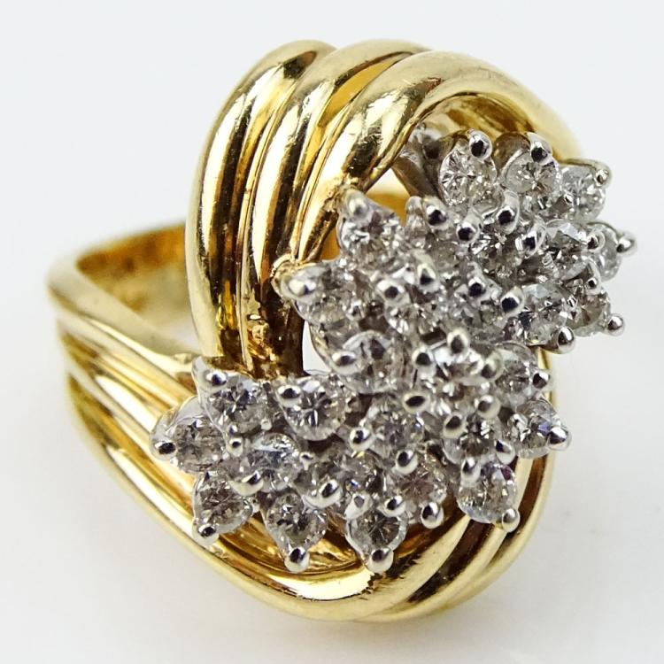 Vintage Approx. 1.50 Carat Round Brilliant Cut Diamond and 14 Karat Yellow Gold Ring