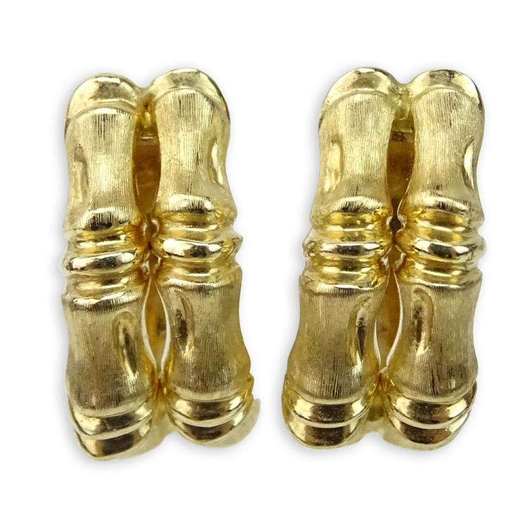 Pair of Vintage Italian 14 Karat Yellow Gold