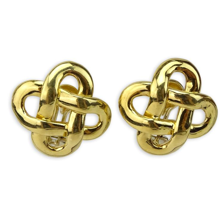 Pair of Vintage Italian Weingrill 18 Karat Knot Earrings