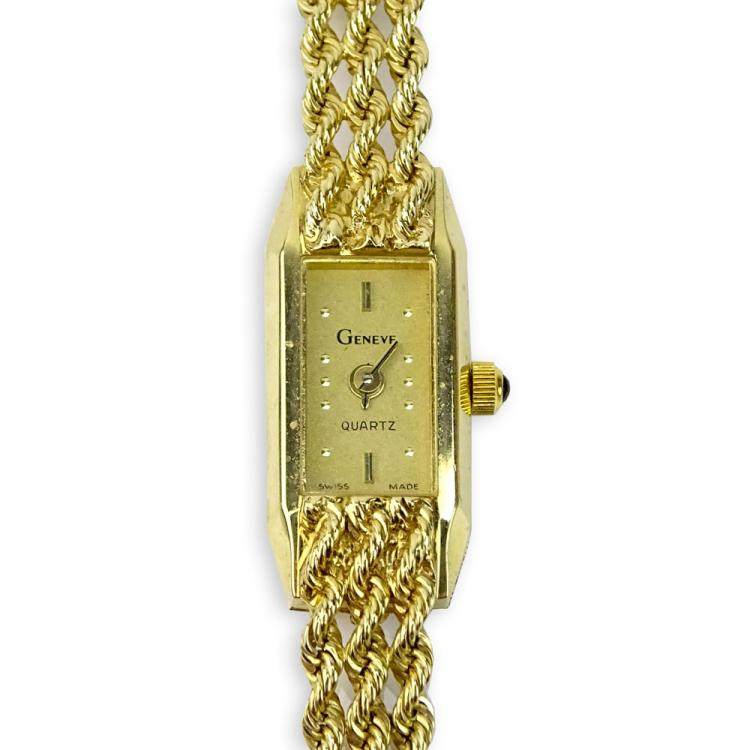 Lady's Vintage 14 Karat Yellow Gold Geneve Quartz Rope style Bracelet Watch