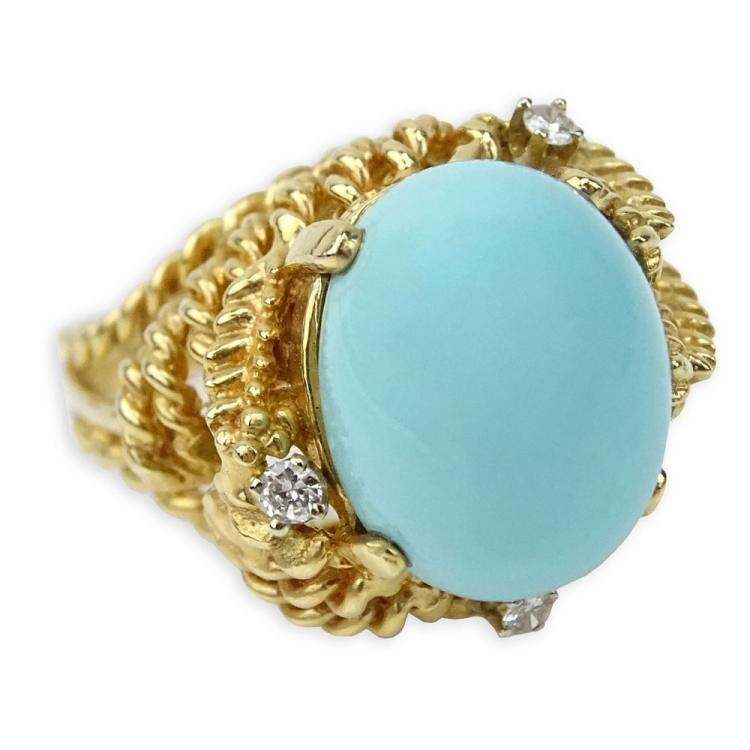 Vintage Cabochon Persian Turquoise and 14 Karat Yellow Gold Ring with Small Round Cut Diamond Accents