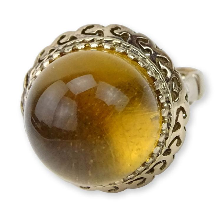 Vintage Cabochon Dome shape Citrine and 14 Karat Yellow Gold Ring