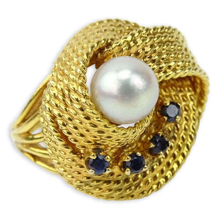 Retro 14 Karat Yellow Gold, Pearl and Sapphire Ring