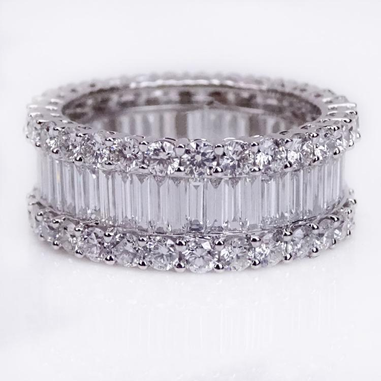 Beautiful Quality Approx. 6.0 Carat Baguette and Round Brilliant Cut Diamond and 18 Karat White Gold Eternity Band