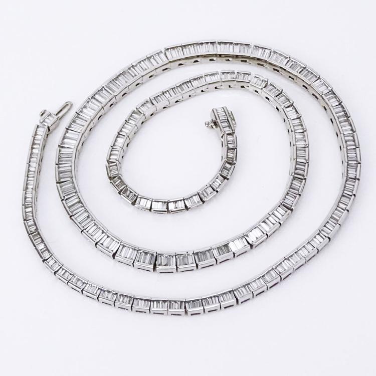 Approx. 13.0 Carat Baguette Cut Diamond and Platinum Riviera Necklace