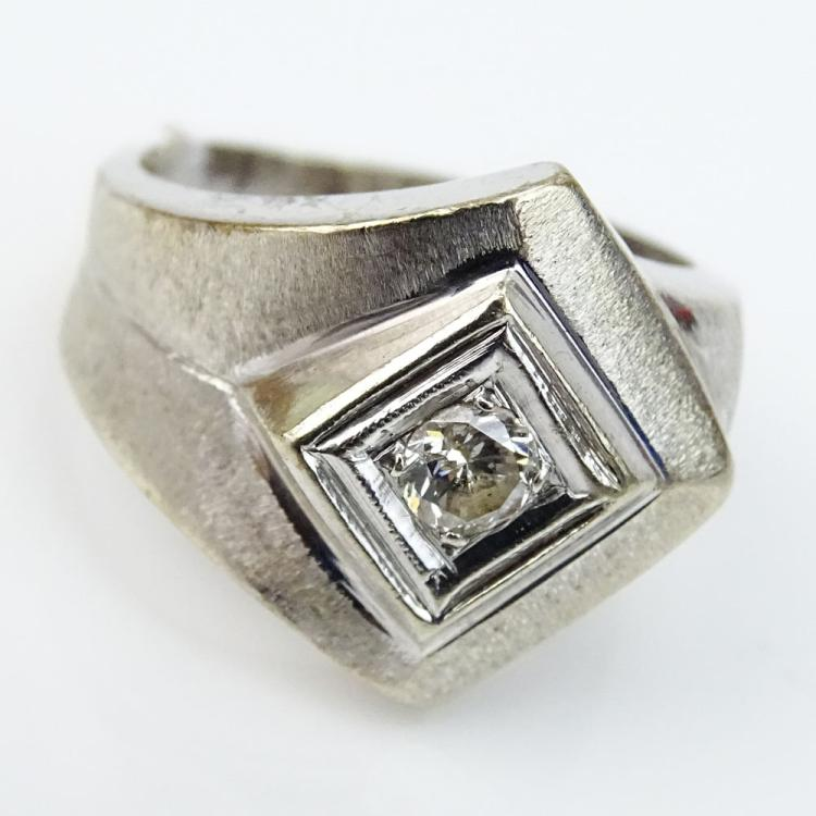 Man's Retro Approx. .20 Carat Round Brilliant Cut Diamond and 14 Karat White Gold Ring