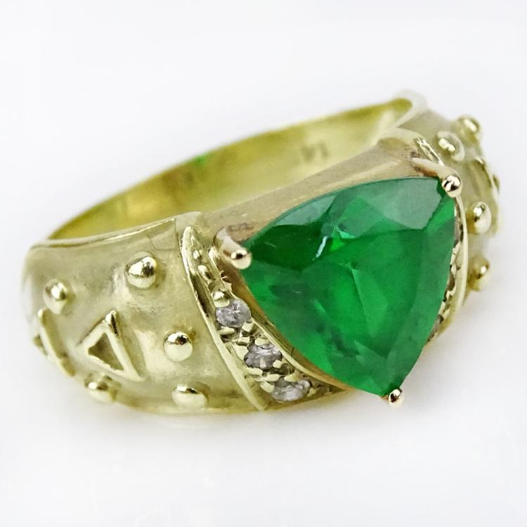 Synthetic Emerald and 14 Karat Yellow Gold Ring with Small Diamond Accents