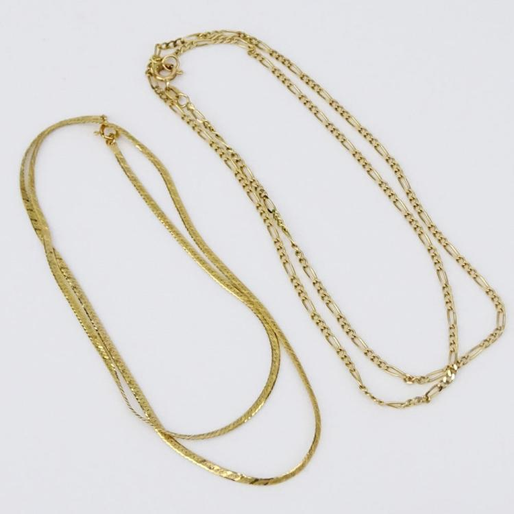 Two (2) Delicate 14 Karat Yellow Gold Necklaces