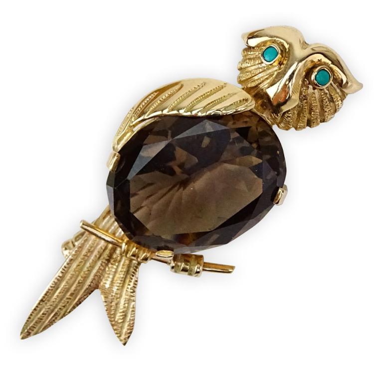 Vintage Oval Cut Smoky Quartz and 14 Karat Yellow Gold Owl Brooch with Turquoise Eyes
