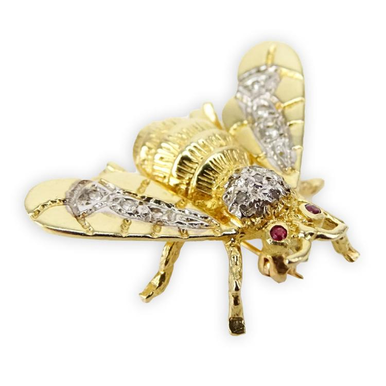 Small 14 Karat Yellow Gold Bee Brooch with Small Diamond and Ruby accents