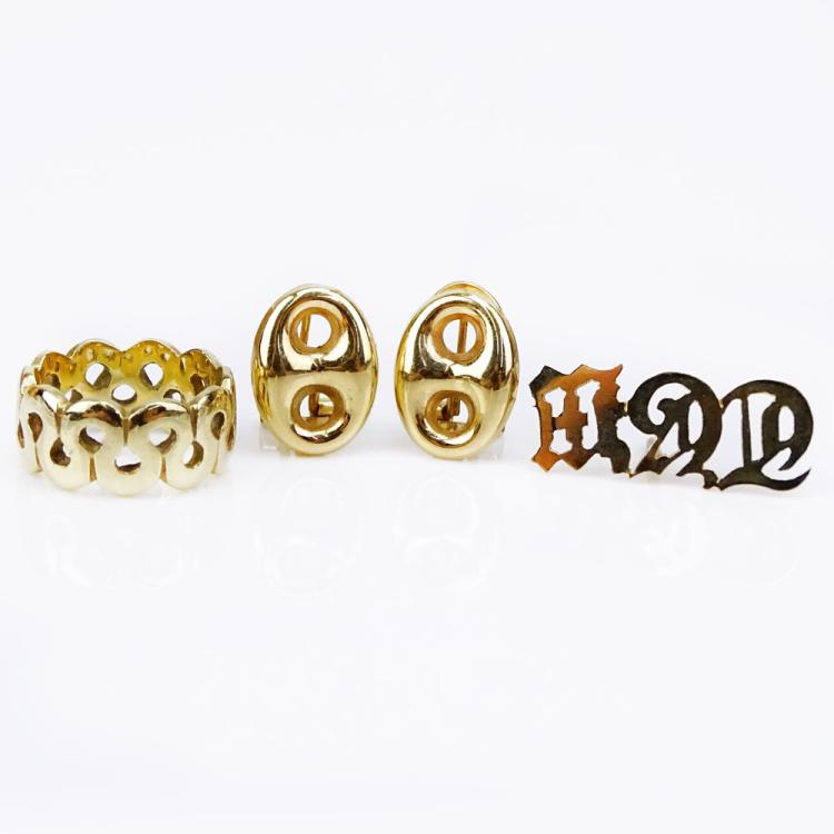 14 Karat Yellow Gold Ring, Pair of Button Earrings and Monogram Pin (TGW)