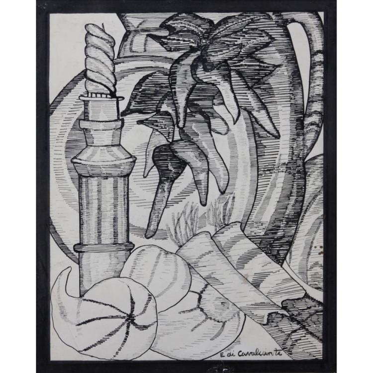 attributed to: Emiliano di Cavalcanti, Brazilian (1897-1976) Ink on Paper, Still Life.
