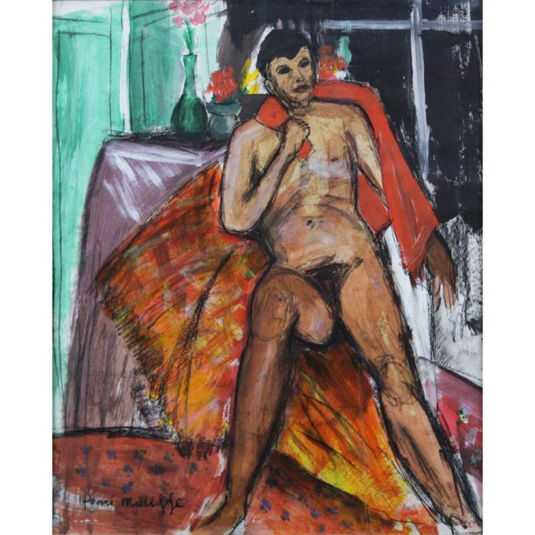 after: Henri Matisse, French (1869-1954) Mixed Media on Paper, Seated Nude