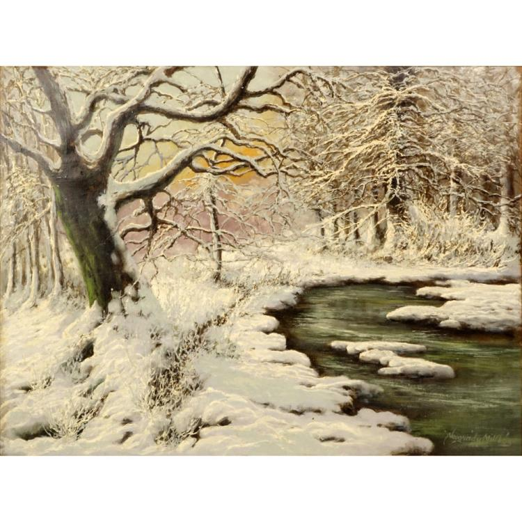 Miklos Neogrady, Hungarian (20-21st cent) Oil on Canvas, Winter Snow Scene