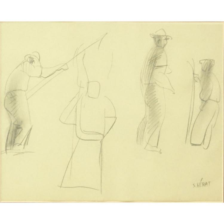 Serge Ferat, French (1881-1958) Pencil sketch on paper